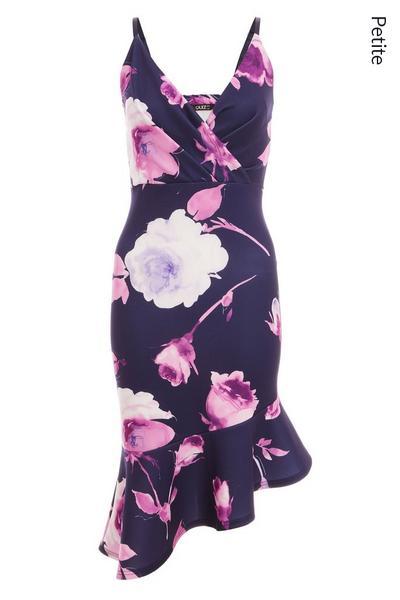 Petite Navy Flower Print Midi Dress